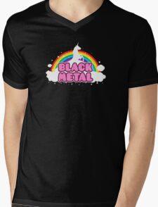 BLACK METAL! (Funny Unicorn / Rainbow Mosh Parody Design) Mens V-Neck T-Shirt