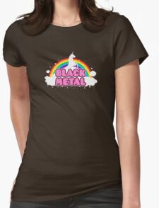 BLACK METAL! (Funny Unicorn / Rainbow Mosh Parody Design) Womens Fitted T-Shirt