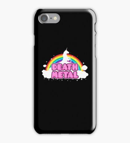 DEATH METAL! (Funny Unicorn / Rainbow Mosh Parody Design) iPhone Case/Skin