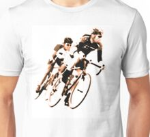 Cyclists into the Curve - High Contrast Sepia Unisex T-Shirt
