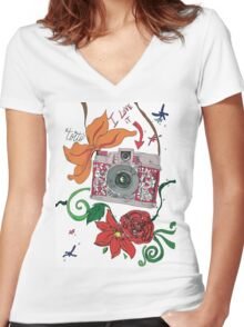 Photographer style Women's Fitted V-Neck T-Shirt