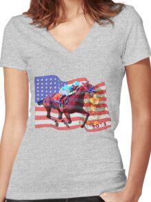 American Pharoah 2015 Women's Fitted V-Neck T-Shirt