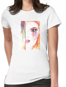 Watercolor drawing wit ginger girl Womens Fitted T-Shirt