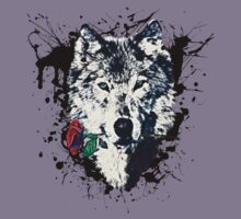 Wolf with Rose, Love Symbol, Wolves, Nature, Native, Splash,  Kids Tee