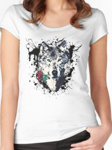 Wolf with Rose, Love Symbol, Wolves, Nature, Native, Splash,  Women's Fitted Scoop T-Shirt