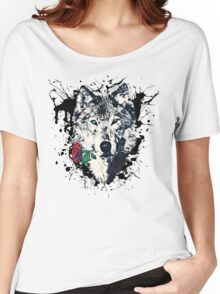 Wolf with Rose, Love Symbol, Wolves, Nature, Native, Splash,  Women's Relaxed Fit T-Shirt