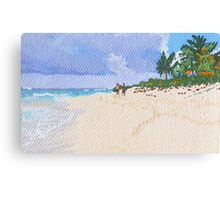 Strolling on a secluded beach Canvas Print