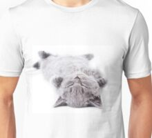 Funny gray fluffy kitten sleeps Unisex T-Shirt