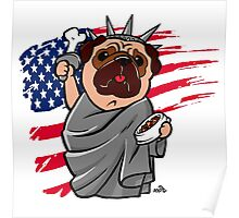 4th of July Independence Pug Poster