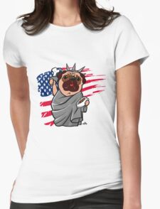 4th of July Independence Pug Womens Fitted T-Shirt