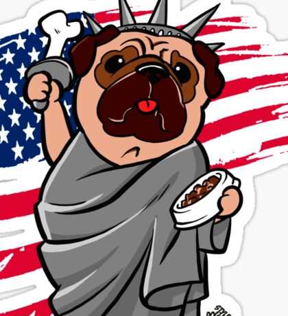 4th of July Independence Pug Sticker