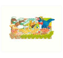 Diptych - top Panel (Acrylic gouache on Illst board)  Art Print