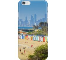 Brighton Bath Huts and the Melbourne Skyline iPhone Case/Skin