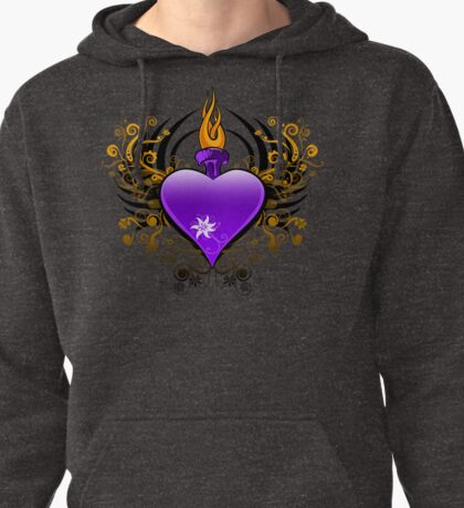 Flaming Heart Pullover Hoodie