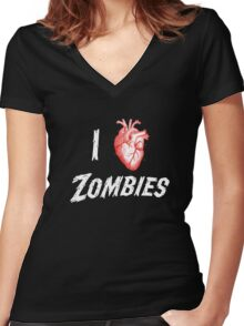 I Heart Zombies Women's Fitted V-Neck T-Shirt