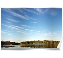 Blue Cloudy Sky Over a Pond Poster