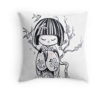 Kokeshi Doll  Throw Pillow