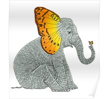 Elephant and Butterfly Poster