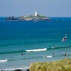 Surfing at Godrevy by Michelle Lovegrove