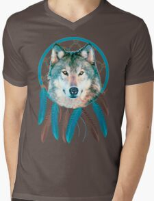 Spirit Wolf Dream Catcher Mens V-Neck T-Shirt