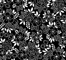 Rosalie Black Drawing with Ink by FloraminaDesign