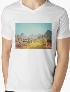 Geometric Enjoy Nature Mens V-Neck T-Shirt