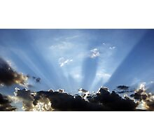 Shining Sun Rays on the Dark Sky Photographic Print