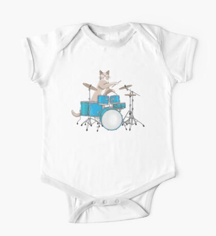 Cat Playing Drums - Blue One Piece - Short Sleeve