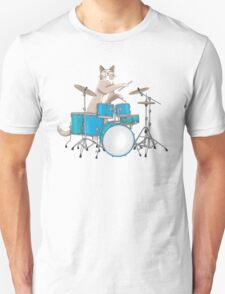 Cat Playing Drums - Blue Unisex T-Shirt
