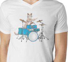 Cat Playing Drums - Blue Mens V-Neck T-Shirt