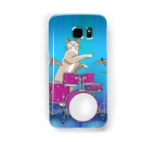 Cat Playing Drums - Blue Samsung Galaxy Case/Skin