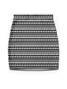 Black Tribal Mini Skirt
