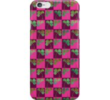 Red clover checkerboard iPhone Case/Skin