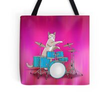 Cat Playing Drums - Pink Tote Bag
