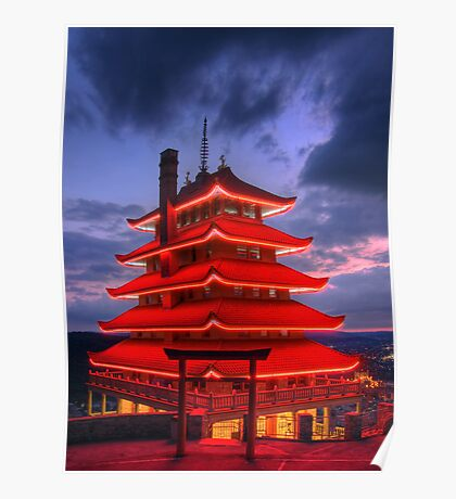 Pagoda Overlooking City of Reading, PA at Night Poster