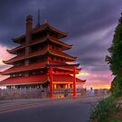 Pagoda Overlooking City of Reading, PA at Sunset. by Michael Mill