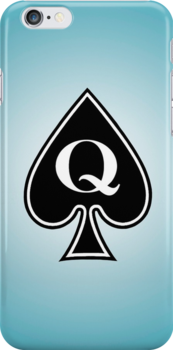 Smartphone Case - Queen of Spades - L/Blue by Mark Podger