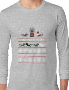 Red Christmas Sweater + Card Long Sleeve T-Shirt