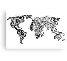 Map of the World Zentangle Metal Print