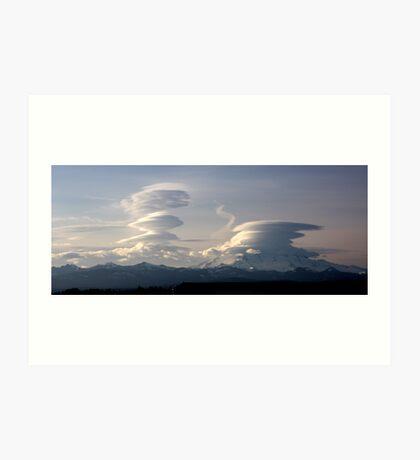 Lenticular clouds Art Print