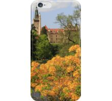 Castle behind a yellow curtain of flowers iPhone Case/Skin
