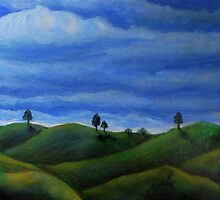 Oil Painting - Hills in Central Sicily 2008 by Igor Pozdnyakov