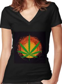 Marijuana Leaf and the Sun Women's Fitted V-Neck T-Shirt