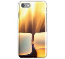 Marshmallow on a wood stick in fire. iPhone Case/Skin