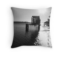 Maroochydore River Boat Shed Throw Pillow