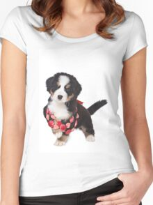Bern Shepherd puppy and beads Women's Fitted Scoop T-Shirt