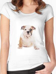 bulldog Puppy Women's Fitted Scoop T-Shirt