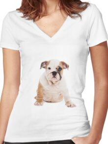 bulldog Puppy Women's Fitted V-Neck T-Shirt
