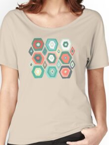 hex diamond coral mint Women's Relaxed Fit T-Shirt