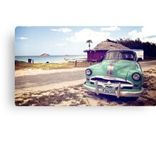 Cuban classic car by the beach Canvas Print